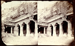 Left end of façade of Buddhist Vihara, Cave I, Ajanta
